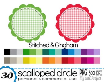 Circle Scalloped Stitched Gingham- Clipart - 30 colors - 30 PNG files - 300 dpi - Instant download - CA04