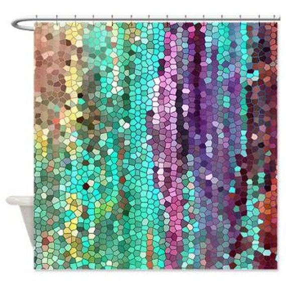 Beautiful shower curtain morning has broken by for Purple mosaic bathroom accessories