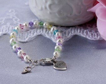 "Sterling Silver ""Sister"" Bracelet with Freshwater Pearls and Multi-Crystals with Gift Box for Sister Gift for Girls (045)"