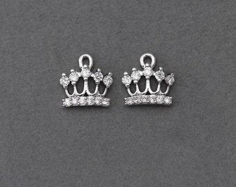 Crown Brass Pendant . Wedding Jewelry, Bridal Jewelry . Polished Original Rhodium Plated over Brass  / 1 Pcs - JC003-PR-CR