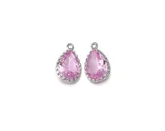 Pink Glass Pendant . Jewelry Craft Supplies . Polished Original Rhodium Plated over Brass  / 2 Pcs - AG008-PR-PK