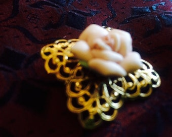 Vintage Carved Rose and Filigree Brooch