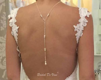 Bridal Backdrop Lariat Necklace - Wedding Prom Pearls & Diamante with CRYSTALLIZED™ - Swarovski Elements