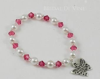 Bridesmaid Flower Girls Butterfly Bracelet Pink with CRYSTALLIZED™ Swarovski Elements