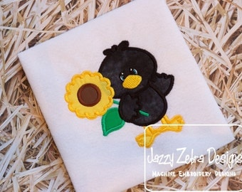 Crow with Sunflower Applique