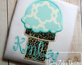 1 Scoop Ice Cream Applique Design