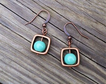 Copper Square and Turquoise Bead Drop Earrings