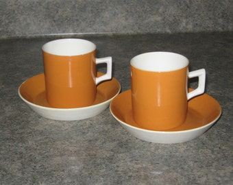 Vintage 1930s-1940s ED Langbein Italy Teacup and Saucer Set orange/  Italian Pottery