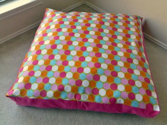 Kids Floor Pillow Multicolor Circle Polka Dot Print