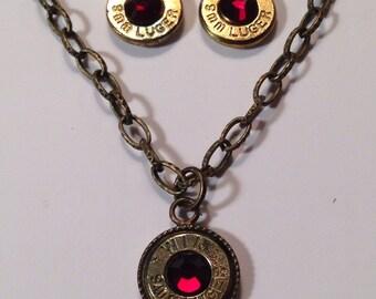 9mm bullet ammo jewelry birthstone necklace earrings January garnet