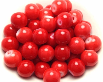 50 Red Glass Beads, 8mm, (BE1026)