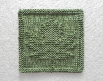 Knit Dishcloth MAPLE LEAF. Hand Knitted Unique Design. Sage Green. 100% Cotton Wash Cloth. Autumn Leaf / Fall Leaves / Hostess Gift