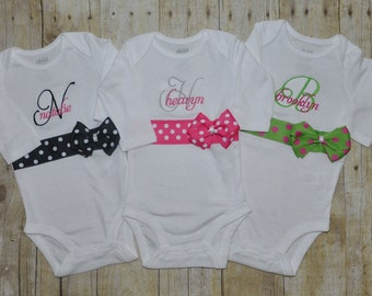 Personalized Ribbon Bow Onesie - Custom Colors