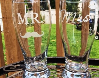 Mr. Mrs Etched Glass Beer Pilsners with Mustache and Lips Wedding Reception Shower Gift Glasses