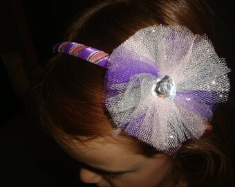 Pink, Purple, and Silver Ribbon Headband with removable tulle clip!