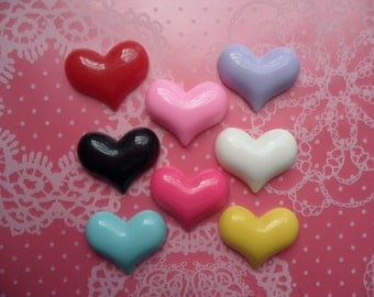 Cute Colorful Flatback Heart Cabochons 22mm x 19mm - 8pcs