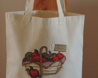 Embroidered Apple Canvas Tote bag