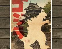 Godzilla Movie Poster movie silhouette - Vintage Style Magazine Retro Print Cinema Studio Watercolor Background - Pick your Size