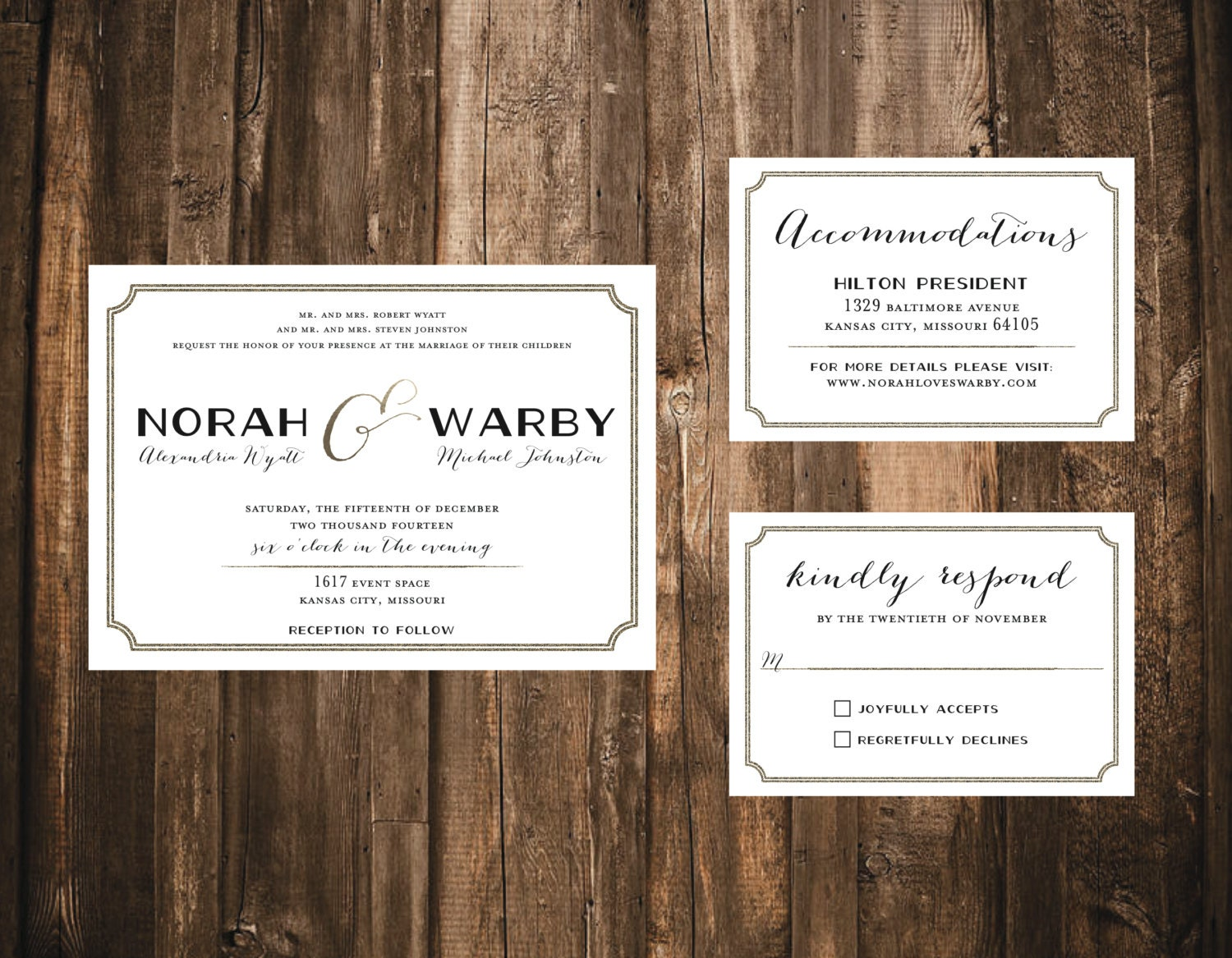 Simple Elegance Wedding Suite // Printed Set // Modern
