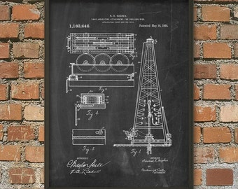 Oil Rig Patent Wall Art Poster