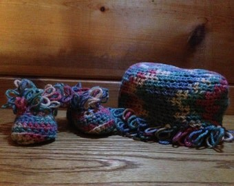 Moccasin Booties with Baby Beanie