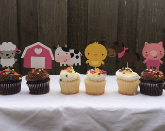 12 assorted farm animal cupcake toppers