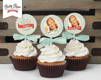 Cupcake Toppers - 50s Housewife Bridal Shower // INSTANT DOWNLOAD // Favor Tags // Retro Shower Decor // Digital Printable DIY ws01