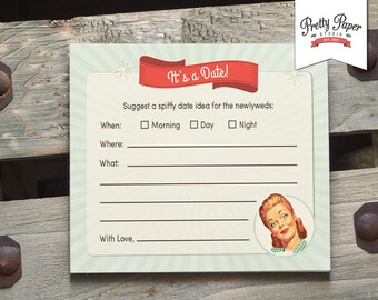 Date Night Suggestion Cards - 50s Housewife Bridal Shower Game // INSTANT DOWNLOAD // 1950s Retro Bridal Shower Game // Printable ws01