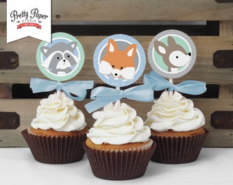 Boy Woodland Cupcake Toppers // INSTANT DOWNLOAD // Favor Tags // Boy Fox Birthday Decor // Mint & Blue // Digital Printable BP01