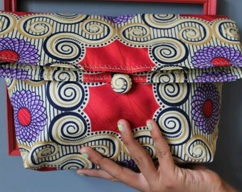 CLEARANCE SALE 25% African print fold over clutch bag