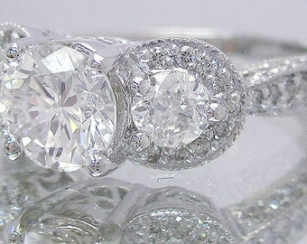 14k white gold round simulated diamond engagement ring antique 2.10ctw