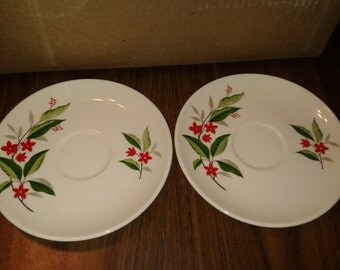 Vintage Saucers with Red Flowers