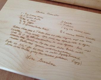 GRANDMA'S HANDWRITTEN RECIPE. Laser Engraved Cutting Board  Your favorite  handwritten recipe on a cutting board.