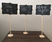 5 Large Chalkboard Table Stands - Shabby Chic Wedding Decor. Chalkboard signs-by HandStampology
