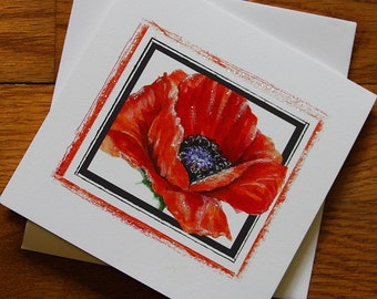Poppy Flower Watercolor Handmade Greeting/note Card Set