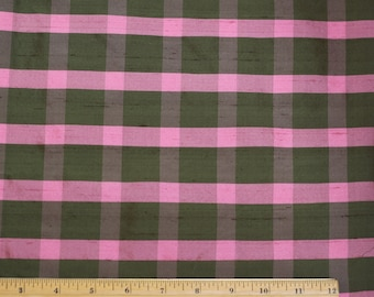 "Forest Green/Pink Checks 100% Silk Shantung Fabric Plaids, 44"" Wide, By The Yard (SD-640)"