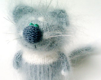 Purrfectly Honest Grey-White Cat with Whiskers & Brows - Amigurumi Toys Fluffy Soft Cats Funny Stuffed Kitten Handmade crochet figurine cat