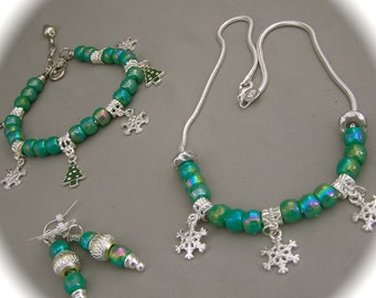 European Bead Christmas Necklace, Bracelet and Earring Set- Green Trees with Snowflakes