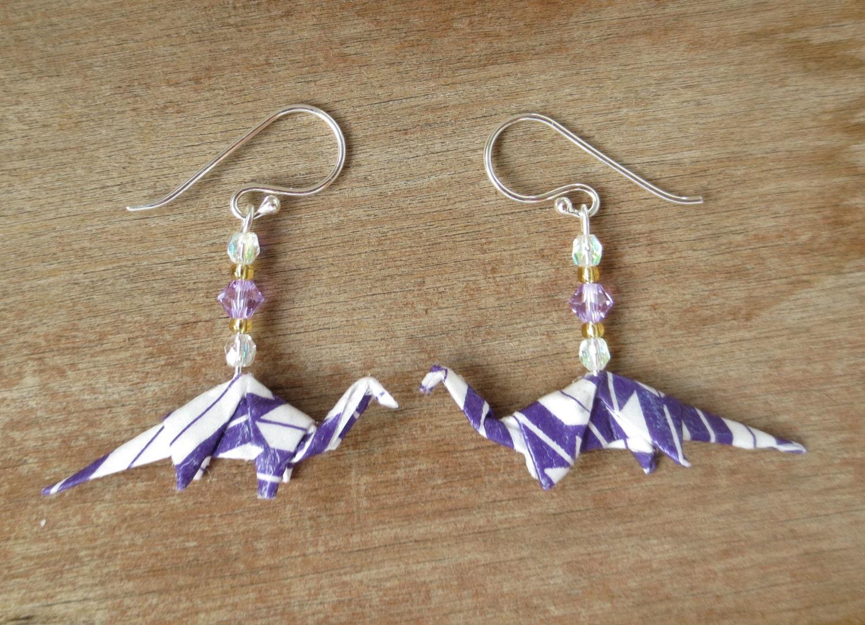 nerdy earrings dinosaur earrings origami earring by