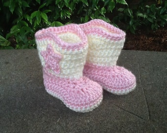 Crocheted baby boots, baby girl boots, cowgirl boots, baby accessory, baby gift, photo prop, baby booties