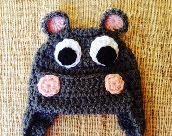 Sweet lil hippo hat, crocheted hippo hat, baby gift, baby photo prop, crocheted baby girl hat