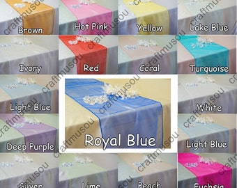 """12"""" x 108"""" (Inch) Organza Table Runner 20 Colors+"""