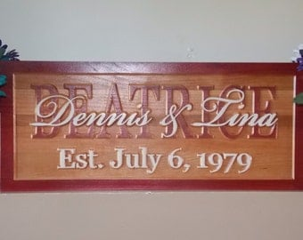 Personalized, Carved Last Name Wedding Gift