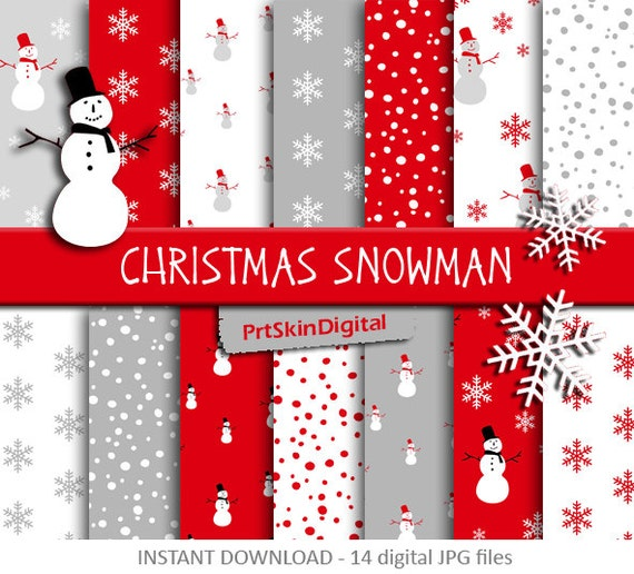 christmas digital paper christmas snowman red white snowman and snowflakes patterns