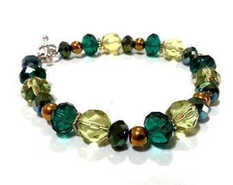 Green and Gold Bracelet; Green Bracelet; Crystal Bracelet