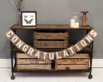 CONGRATULATIONS Hessian Burlap party banner bunting