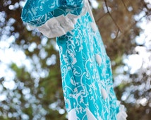 Girls Formal Turquoise and White A-Line Dress {Sizes: 6mos,{1/2T}, 1T,2T, 3T, 4, 5, 6, 7, 8, 10, and 12}