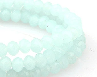 4 mm Mint  Alabaster Opaque Crystal glass Rondelle  Faceted Beads - about  70 pcs (C4073- FikaSupplies)