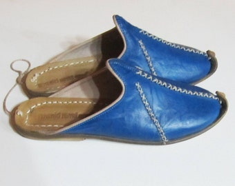 Turkish Yemeni Organic Hand Made Genuine Leather Shoes slipper blue 34 to 47