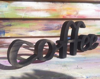 Home decor COFFEE  wood script wood sign wooden letter kitchen sign shabby chic wood wall decor art  wood letters cottage style gift